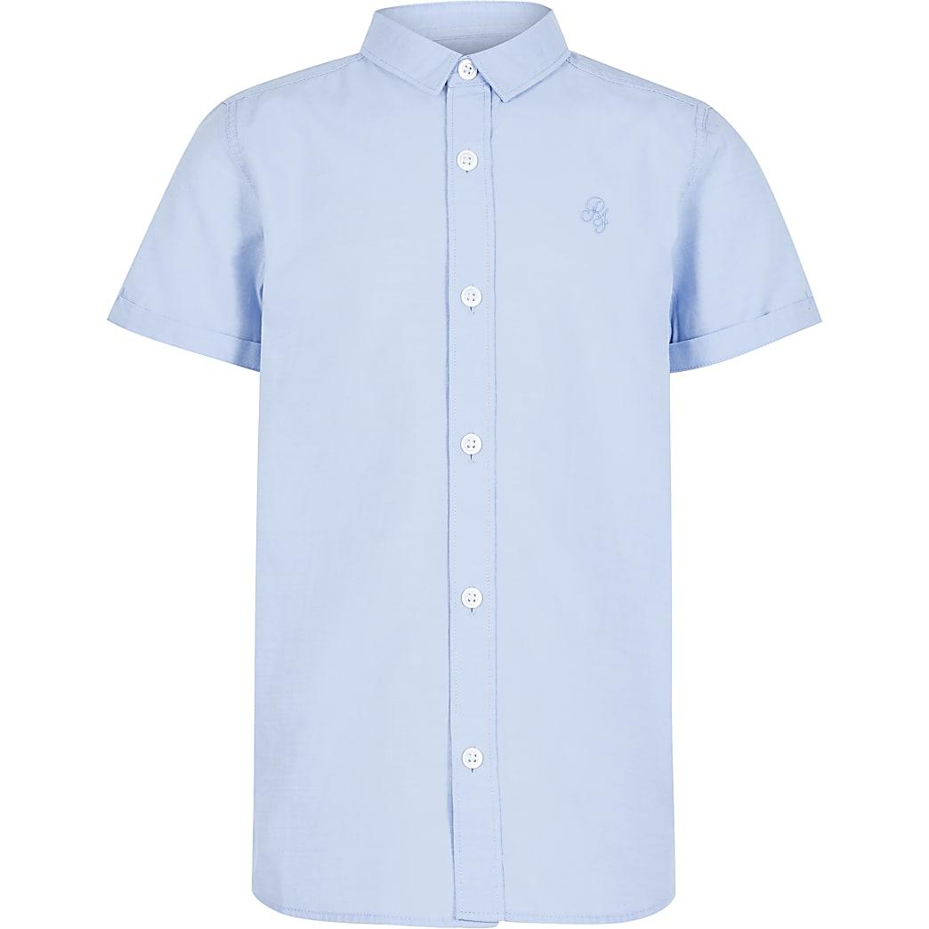 Blauw overhemd van keperstof met korte mouwen voor jongens