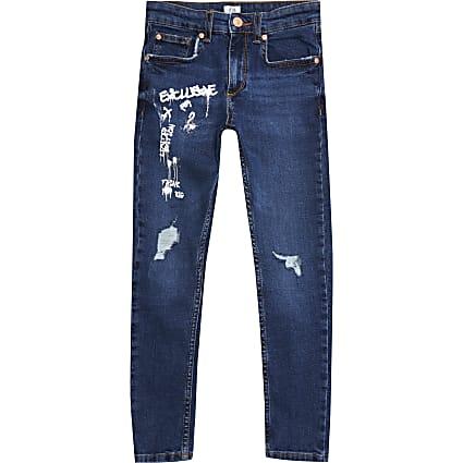 Boys blue Sid graffiti print skinny jeans