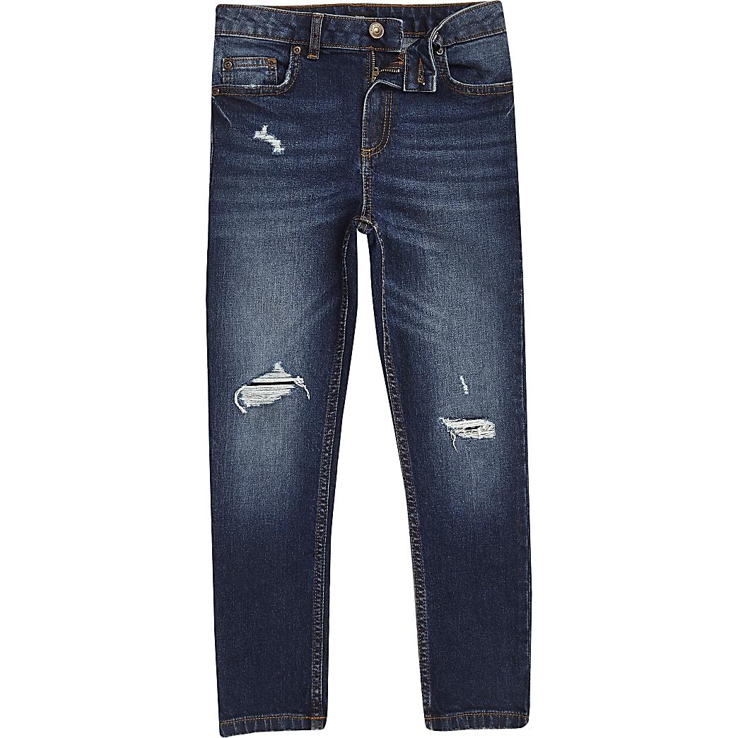 Boys blue skinny ripped jean