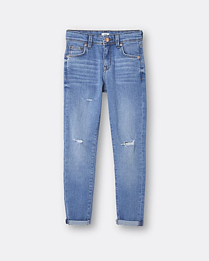Boys blue skinny turn up hem jeans