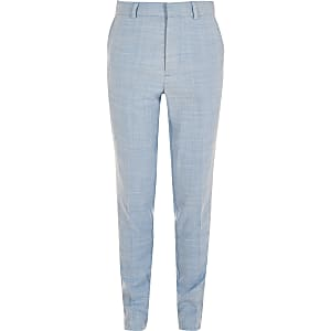Pantalon de costume slim bleu pour garçon
