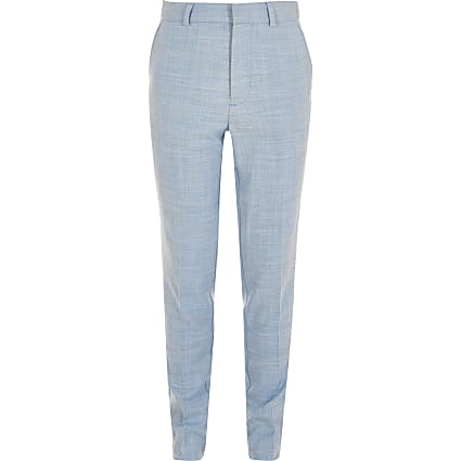 Boys blue slim fit suit trousers