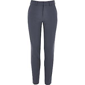 Boys blue slim fit suit trousers