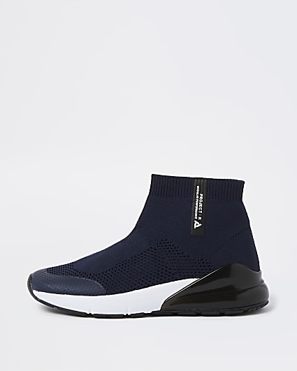 Boys blue sock high top trainers