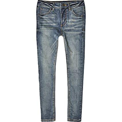 Boys blue spray on skinny jeans