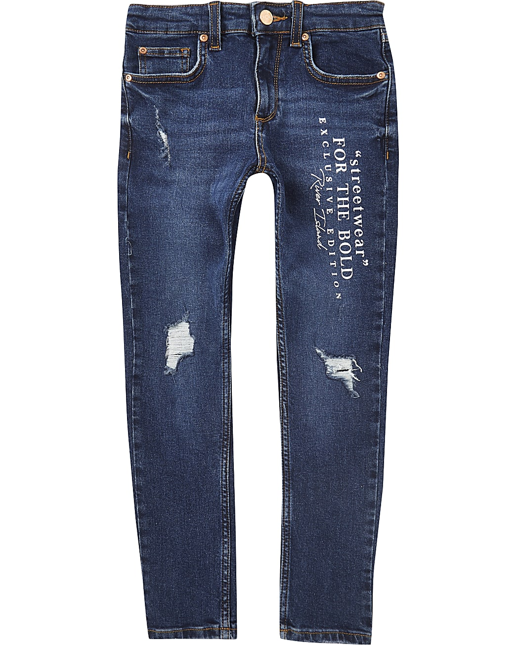Boys blue streetwear print skinny jeans