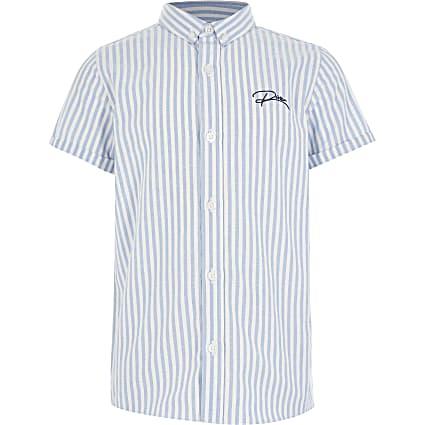 Boys blue stripe button down shirt