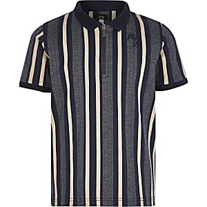 Blau gestreiftes Poloshirt mit Kurzreißverschluss