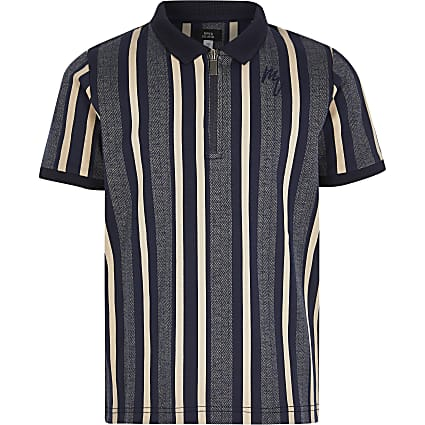 Boys blue stripe half zip polo top