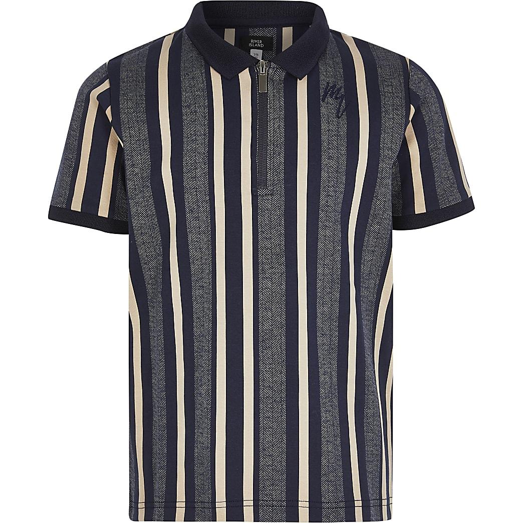 Boys blue stripe half zip polo top