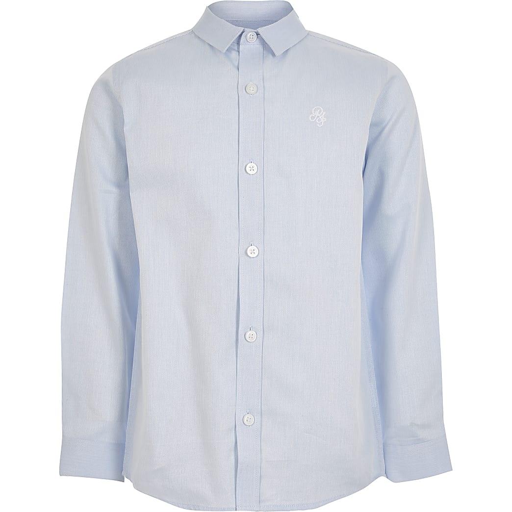 Boys blue stripe long sleeve shirt