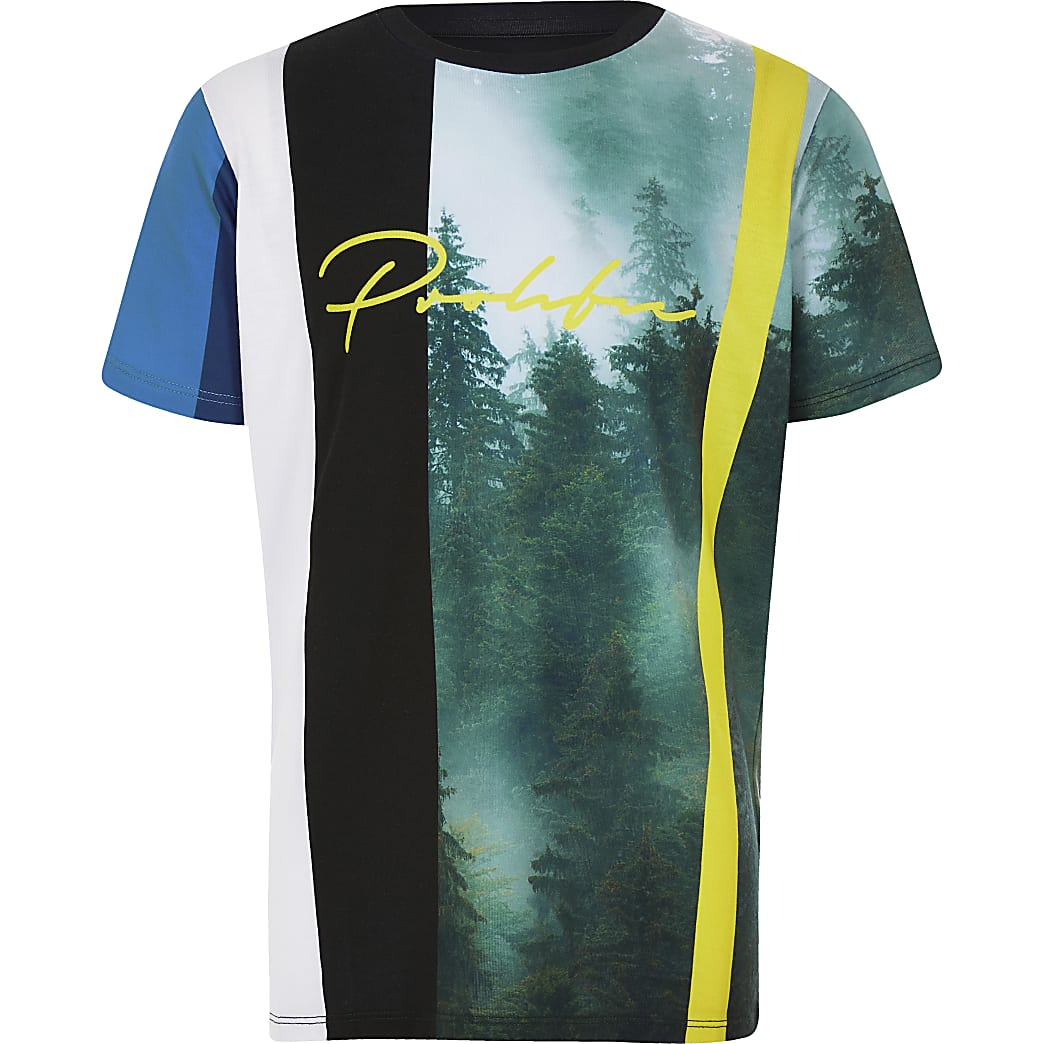 Blauw gestreept T-shirt met 'Prolific'-print voor jongens
