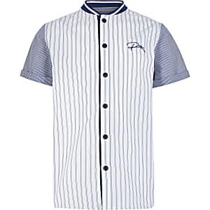 Blauw gestreept honkbaloverhemd met 'River'-tekst voor jongens