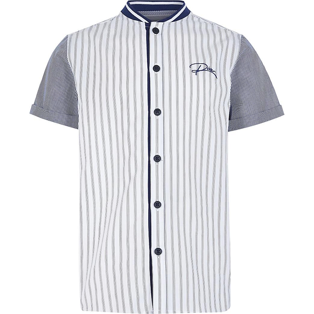 Boys blue stripe 'River' baseball shirt