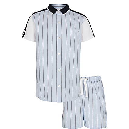 Boys blue stripe shirt and shorts outfit