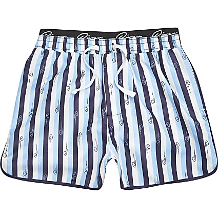 Boys blue stripe volume swim shorts