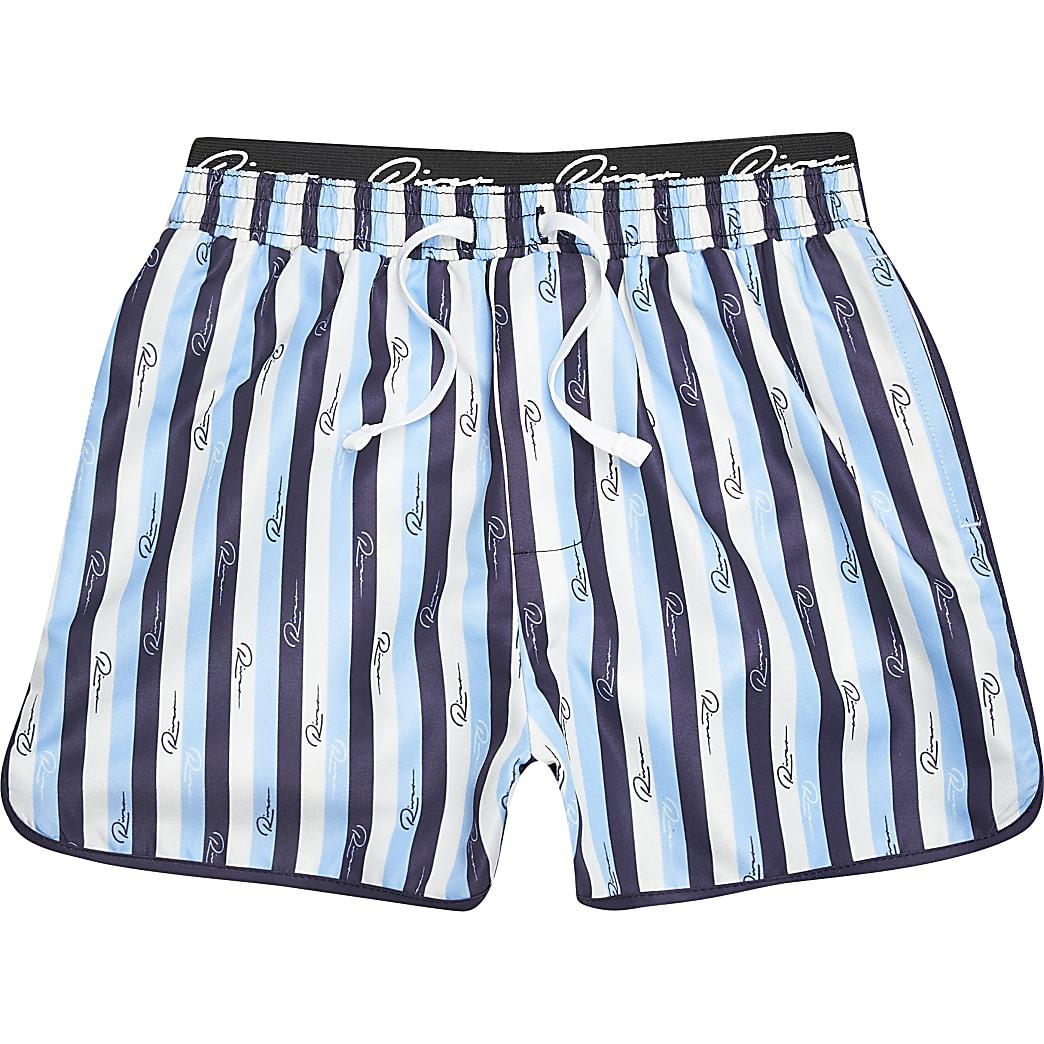 Boys blue stripe volume swim shorts