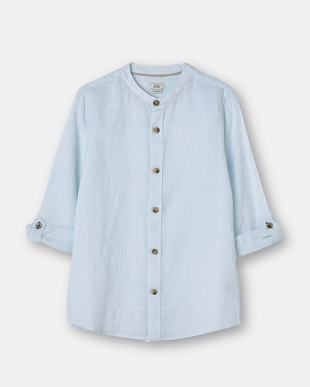 Boys blue textured long sleeve shirt