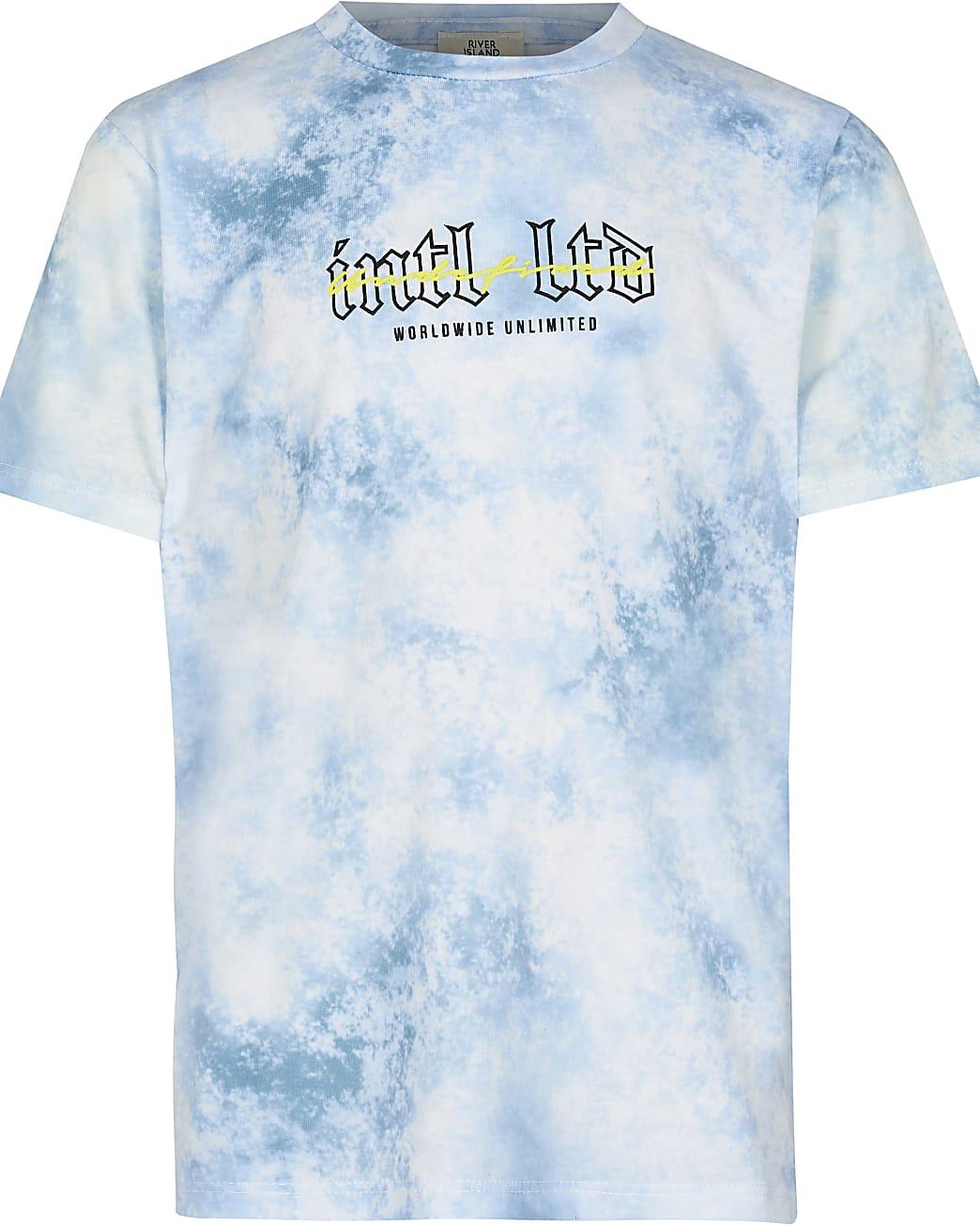 Boys blue tie dye back print t-shirt