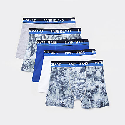 Boys blue tie dye boxers 5 pack