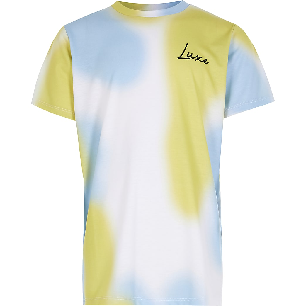 Boys blue tie dye 'Luxe' t-shirt