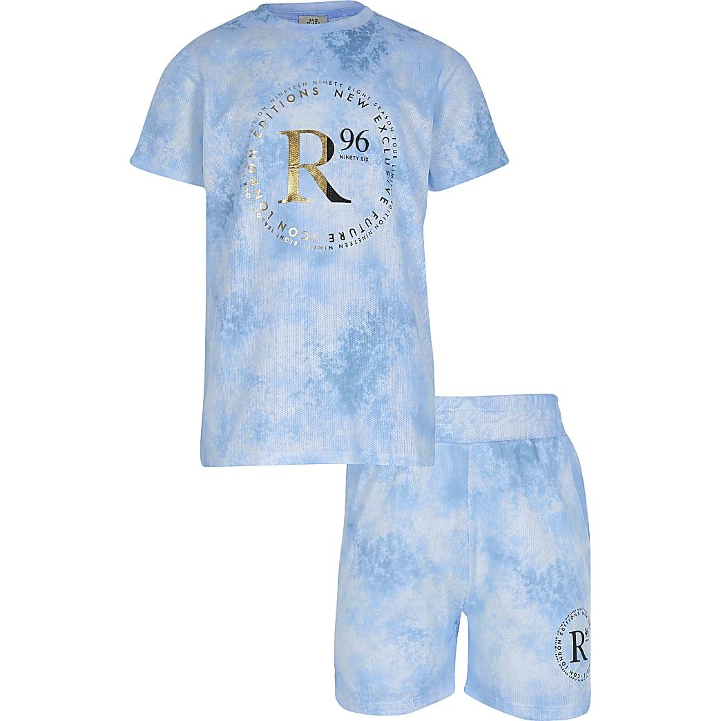 Boys blue tie dye 'R96' outfit