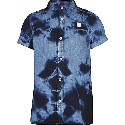 Boys blue tie dye shirt