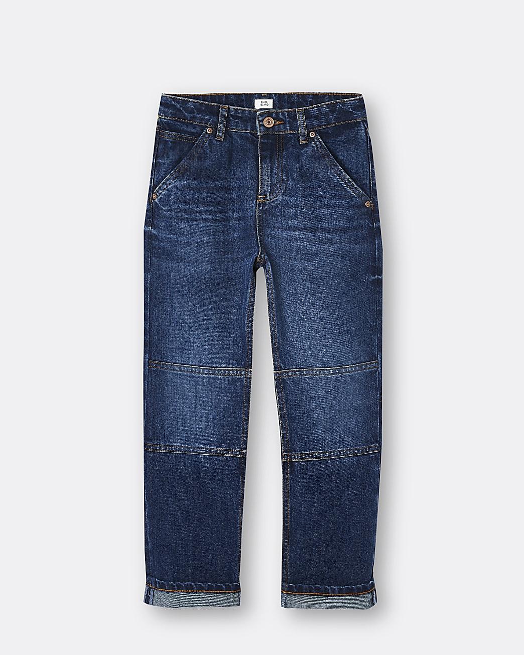 Boys blue turn up hem jeans