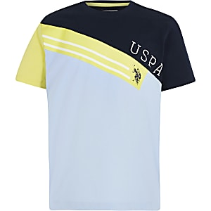 Boys blue USPA colour blocked T-shirt