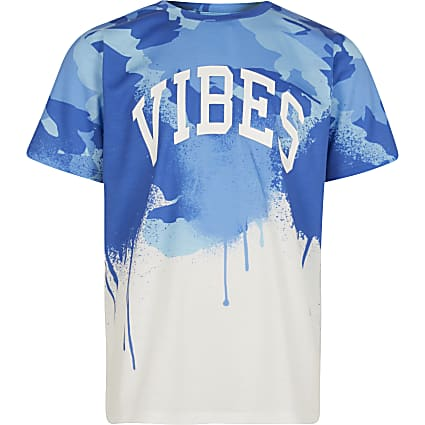 Boys blue 'Vibes' drip t-shirt