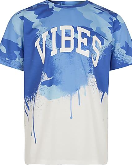 Boys blue 'Vibes' drip t-shirt
