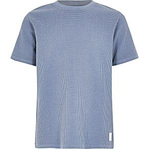 Blauw T-shirt met wafeldessin voor jongens
