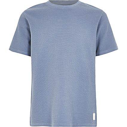 Boys blue waffle T-shirt