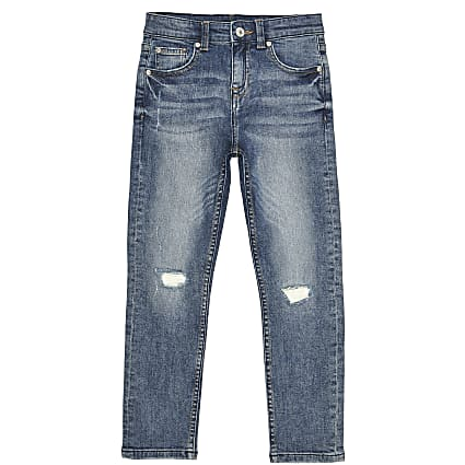 Boys blue wash regular slim jeans