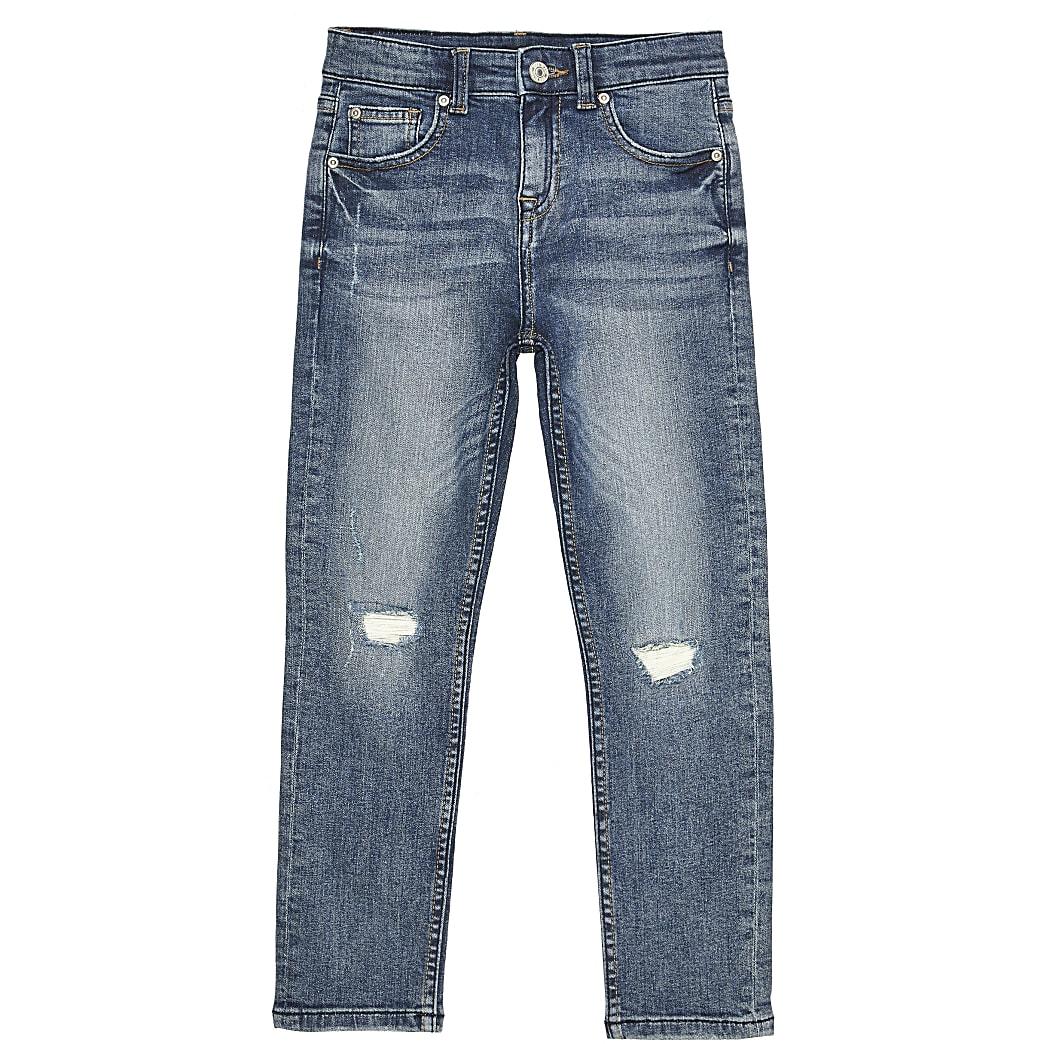 Boys blue wash regular slim jeans