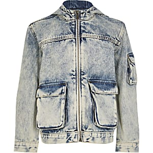 Boys blue washed hooded denim jacket