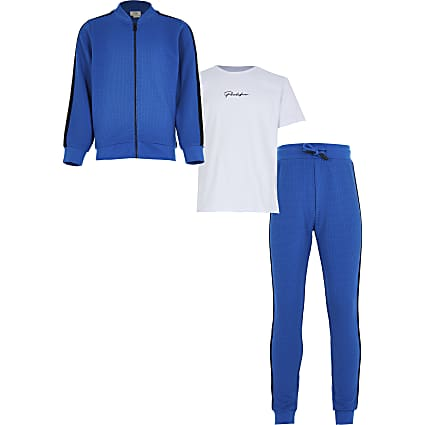 Boys blues texture tape tracksuit