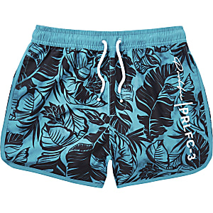 Felblauwe zwemshort met bladerenprint voor jongens
