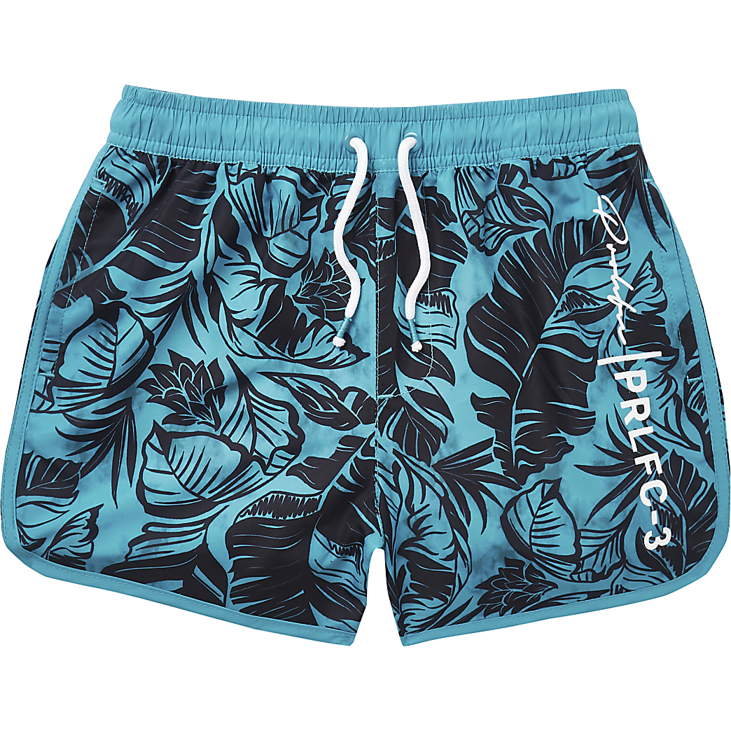 Boys bright blue leaf print swim shorts