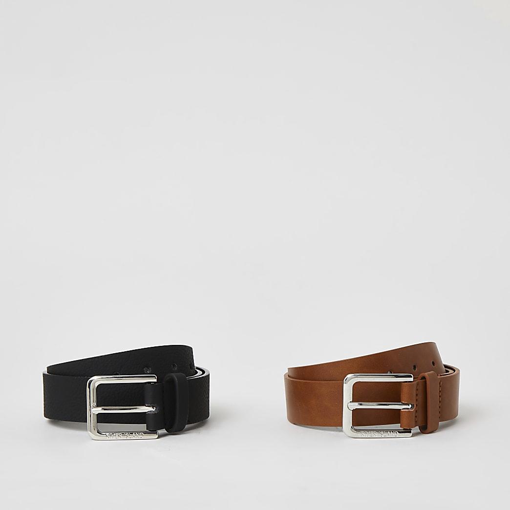 Set van 2 bruine en zwarte riemen voor jongens