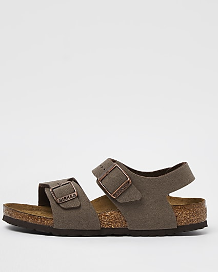Boys brown Birkenstock double strap sandals