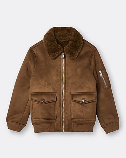 Boys brown borg utility jacket