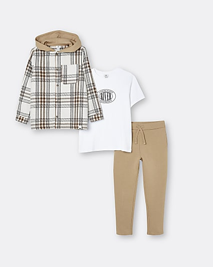 Boys brown check overshirt and joggers outfit