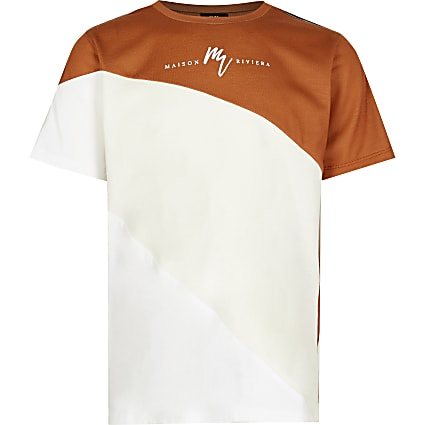 Boys brown colour block t-shirt