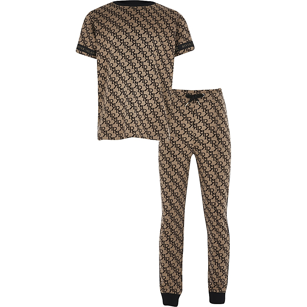 Boys brown jacquard monogram outfit