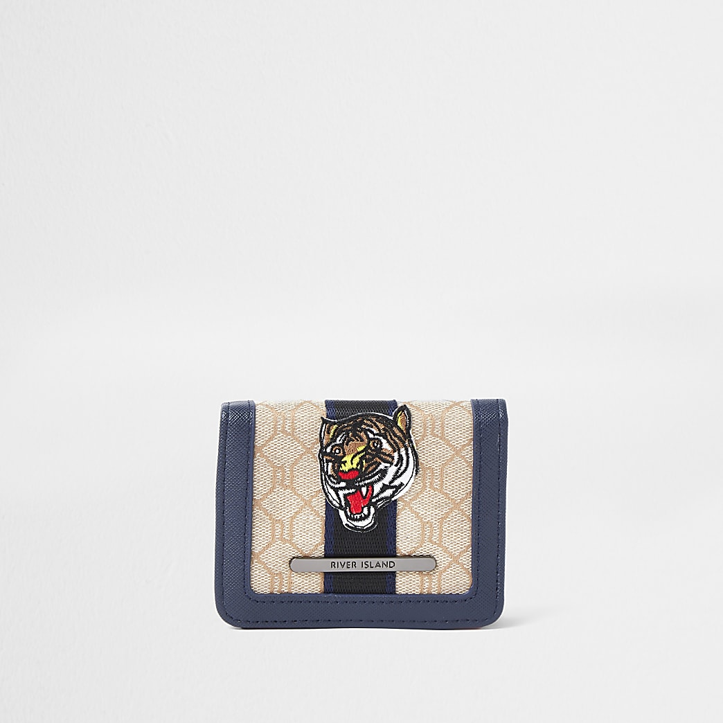 Boys brown jacquard wallet