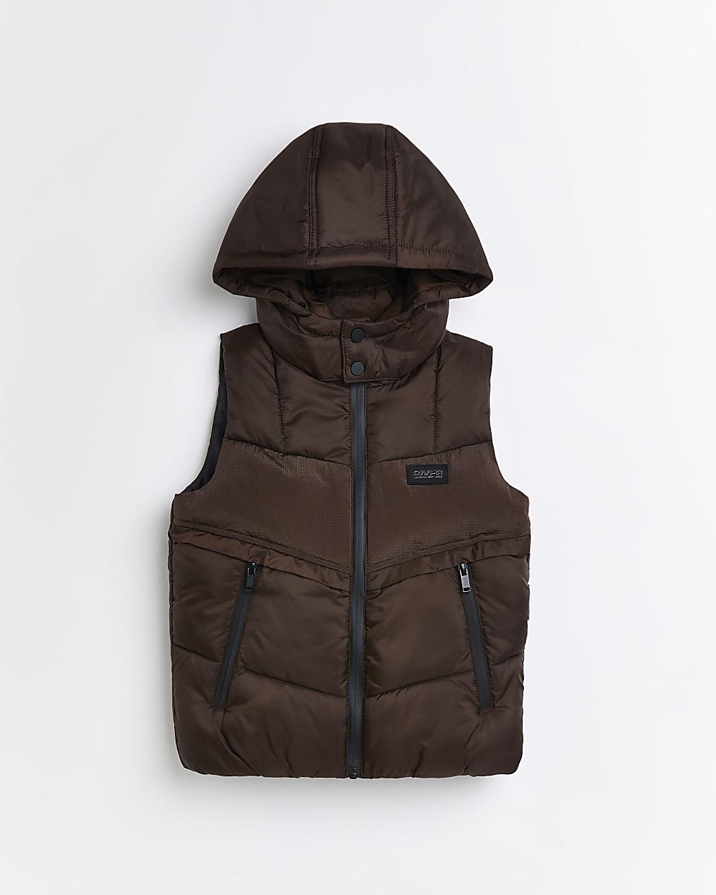 Boys brown padded  hood gilet