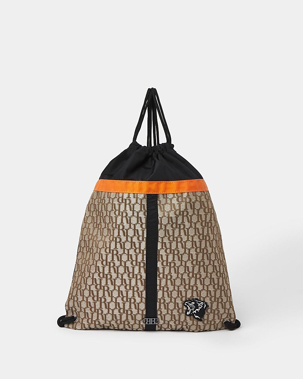 Boys brown RI jacquard nylon bag