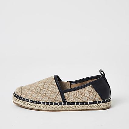 Boys brown RI monogram espadrille sandals