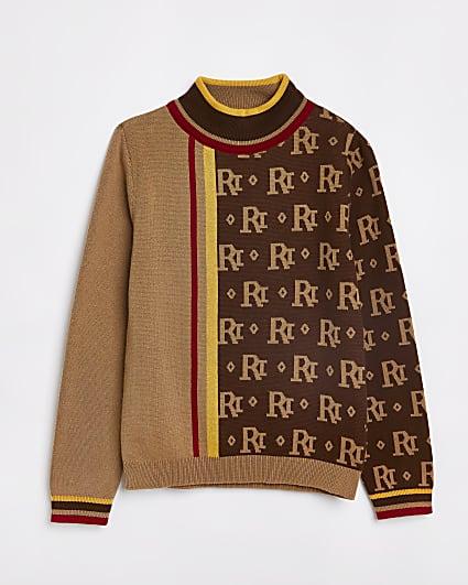 Boys brown RI monogram jumper
